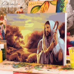 Tranh tô màu theo số Chúa Giêsu chăn chiên