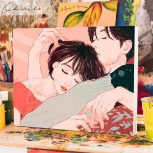 Tranh tô màu theo số – Cặp đôi cuddle TCK0044