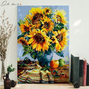 Tranh tô màu theo số – Bình hoa hướng dương TCK0037