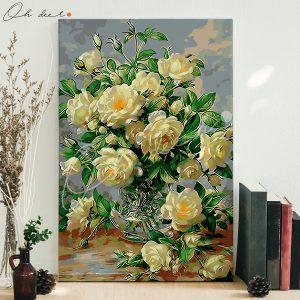 Tranh tô màu theo số – Bình hoa hồng trắng TCK0038